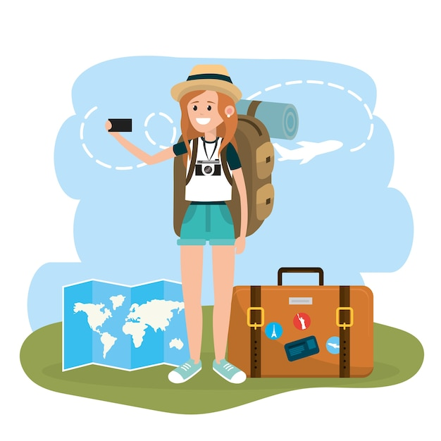 Turista de mulher com viagens de smartphone e maleta