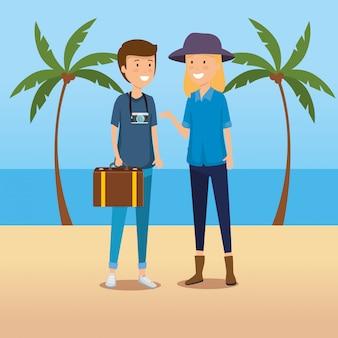 Turista de mulher e homem com bagagem e câmera