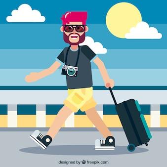 Turista de verão de design plano
