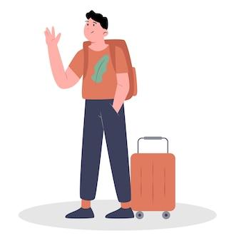 Turista em ilustração de férias