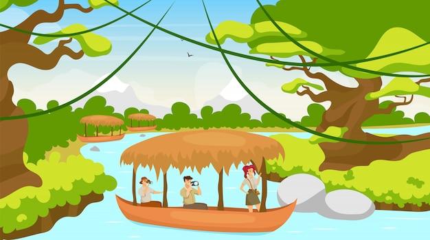Turista em ilustração plana de barco. grupo em viagem no navio. vela no fluxo do rio. paisagem da floresta tropical. floresta mediterrânea com curso de água. personagens de desenhos animados femininos e masculinos