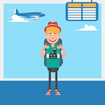 Turista feliz esperando para partir para as férias no aeroporto. ilustração vetorial