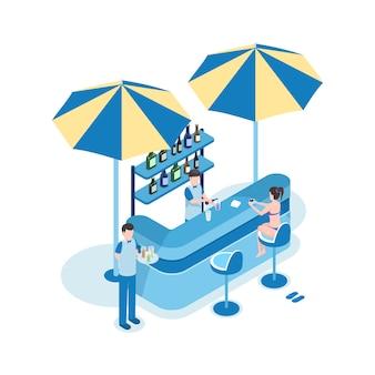 Turista fêmea na ilustração isométrica do vetor da barra da praia. personagens de desenhos animados de mulher, barman e garçom 3d.