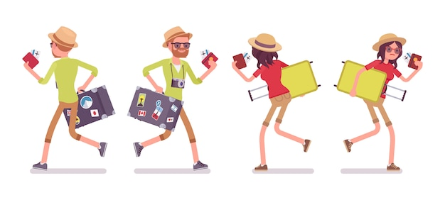 Turista homem e mulher correndo