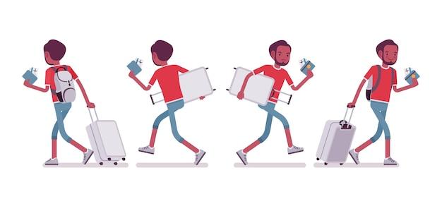 Turista masculina negra andando e correndo