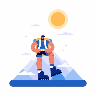Turista masculino positivo viajando por terreno montanhoso