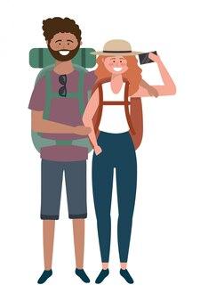 Turista menino e menina com design de saco