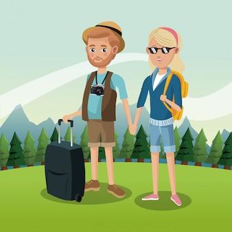 Turista nas montanhas
