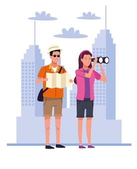 Turistas acampam com binóculos e mapas de papel sobre os personagens da cidade