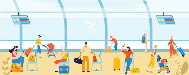 Turistas com bagagem em pessoas do aeroporto, passageiros de viagem, bagagem na ilustração de partida.