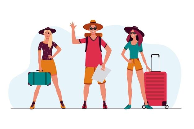 Turistas de design plano com bagagem