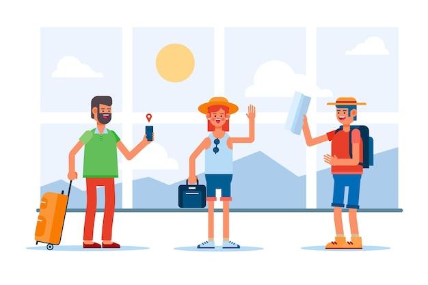 Turistas de estilo simples com bagagem
