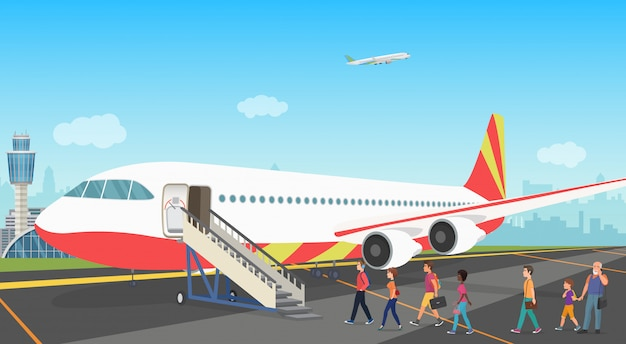 Turistas de pessoas embarcando em um avião de cruzeiro no aeroporto. ilustração.