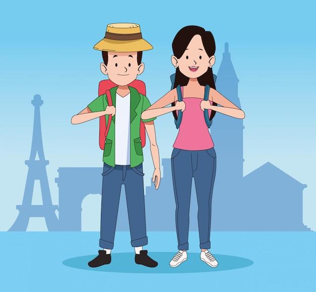 Turistas dos desenhos animados e design de viagens pelo mundo