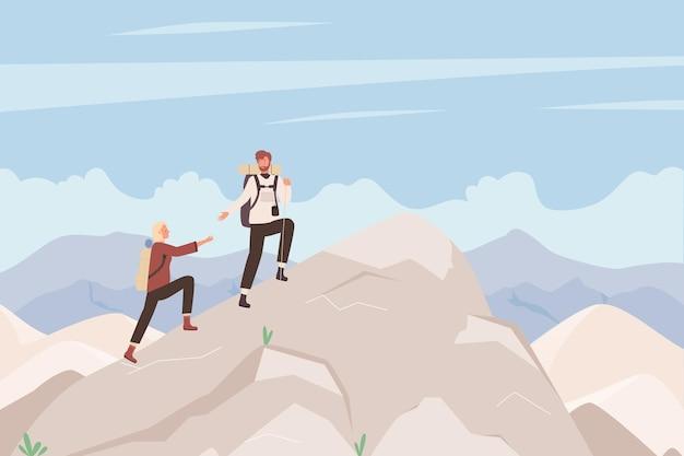 Turistas escalam montanha ilustração