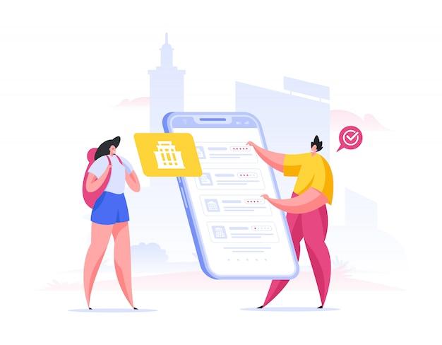 Turistas escolhendo lugares para visitar no aplicativo. ilustração de pessoas plana dos desenhos animados