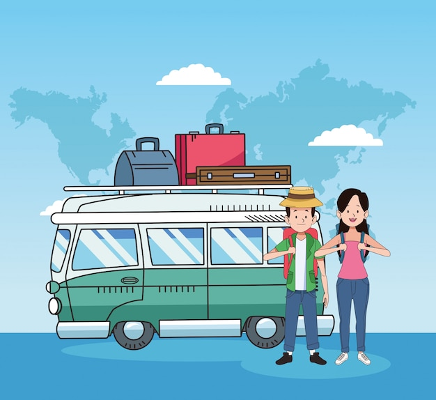 Turistas felizes e design de viagens