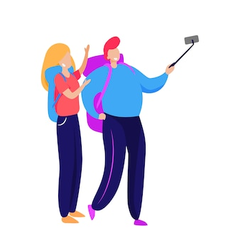 Turistas felizes tomando selfie