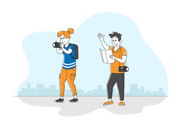 Turistas, homem e mulher, mochileiros, aprendendo, mapa, decidir que caminho escolher