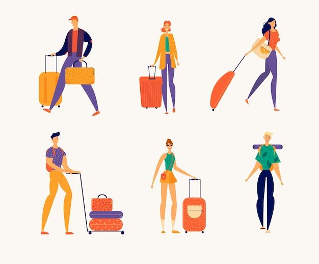 Turistas homens e mulheres viajam com bagagem