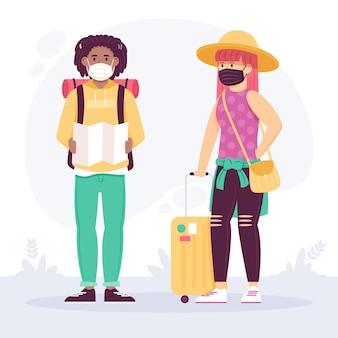 Turistas ilustrados usando máscaras