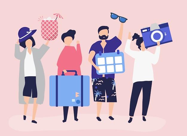 Turistas indo em um feriado tropical