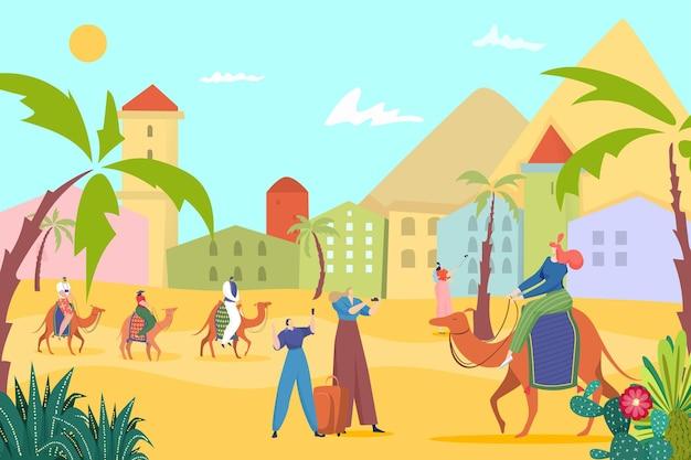 Turistas na ilustração de paisagem de verão de areia do egito
