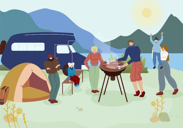 Turistas na ilustração de vetor de festa de churrasco