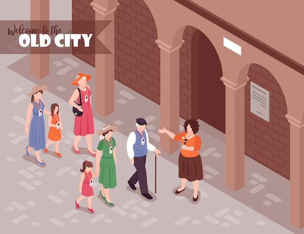Turistas ouvindo guia feminino em excursão pela cidade velha 3d isométrica