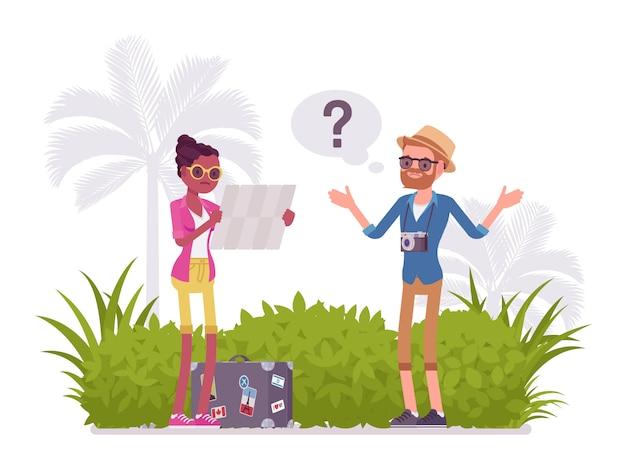 Turistas perdidos em um país estrangeiro