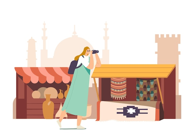 Turistas personagem feminina com câmera fotográfica, visita o conceito de mercado árabe