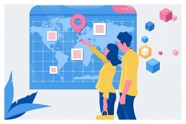 Turistas planejando férias com a ajuda do mapa do mundo