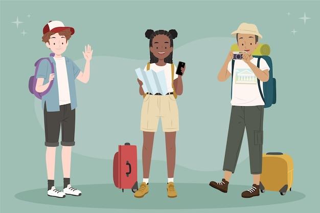 Turistas planos desenhados à mão
