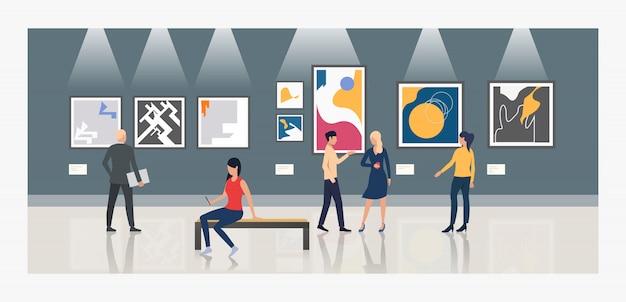 Turistas que olham pinturas na ilustração da galeria de arte