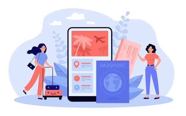 Turistas usando aplicativo móvel para comprar passagens aéreas ou reservar hotéis online
