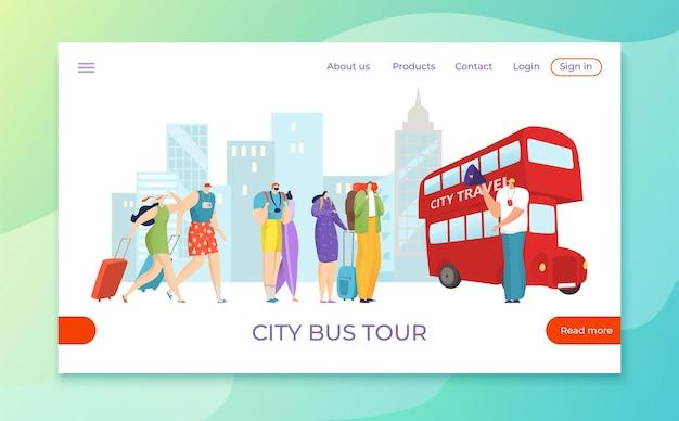 Turistas viajam de ônibus de excursão de excursão, ilustração de turismo de viagem de férias plana