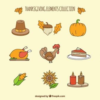 Turquia com outros elementos para o dia de ação de graças