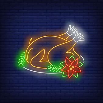 Turquia de natal em estilo neon