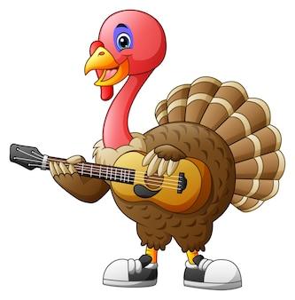 Turquia dos desenhos animados com uma guitarra