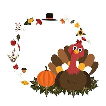 Turquia feliz dia de ação de graças, outono outono ilustração plana