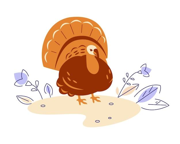 Turquia na natureza. ilustração vetorial no estilo cartoon plana.