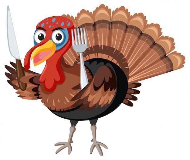 Turquia, segurando a faca e garfo
