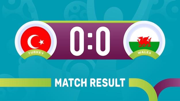 Turquia vs resultado da partida de gales, ilustração do campeonato europeu de futebol de 2020.