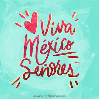 Turquoise viva mexico lettering background