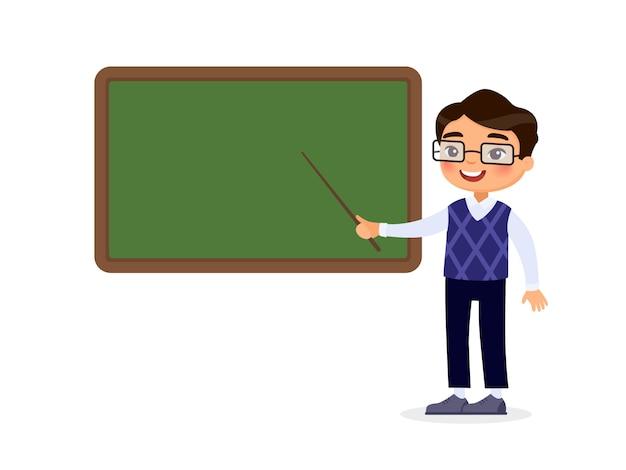 Tutor de sorriso que aponta no quadro vazio no personagem de banda desenhada da sala de aula. processo educacional.