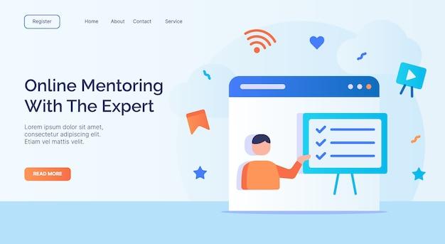 Tutoria on-line com o especialista para o modelo de página inicial da página inicial da web do site da campanha com design de estilo plano moderno em cores cheias
