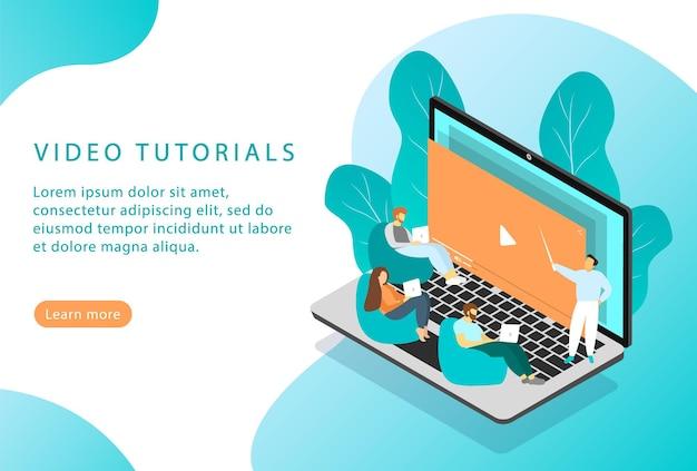 Tutoriais em vídeo. cursos e educação online. isométrico. página de destino para sites da web.