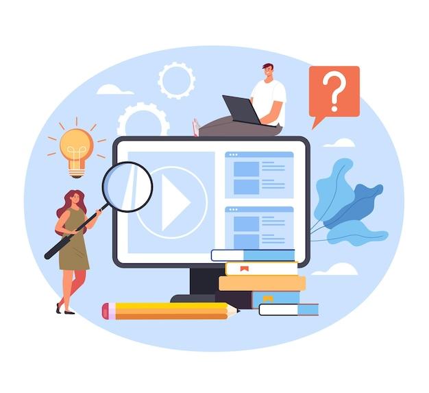 Tutoriais em vídeo de aulas de aprendizagem de educação online na internet