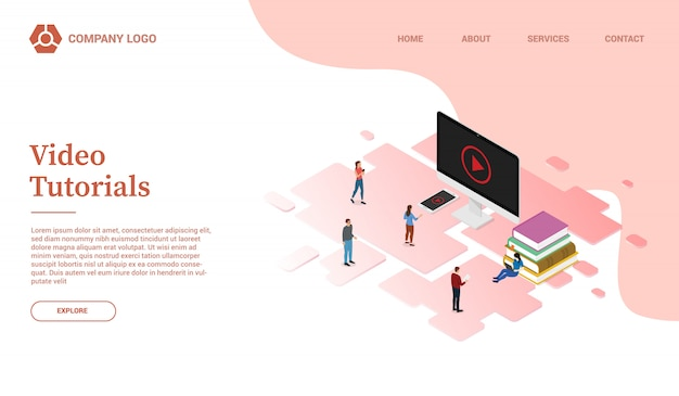 Tutoriais em vídeo on-line para modelo de site de educação em nuvem ou página inicial de desembarque com estilo isométrico