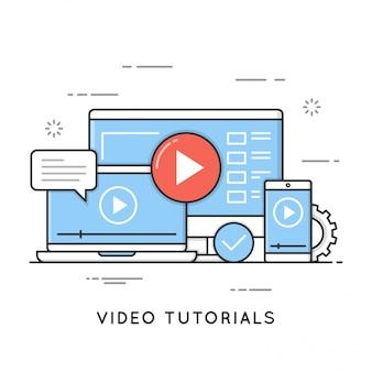 Tutoriais em vídeo, treinamento e aprendizado on-line, seminário on-line, a distância